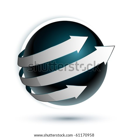 blue sphere and arrows - stock vector