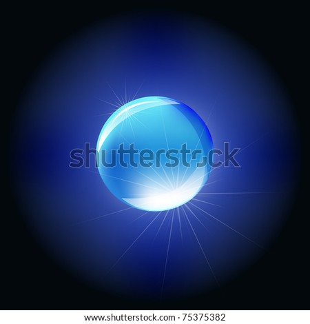 Blue Sphere, Isolated On Black Background, Vector Illustration