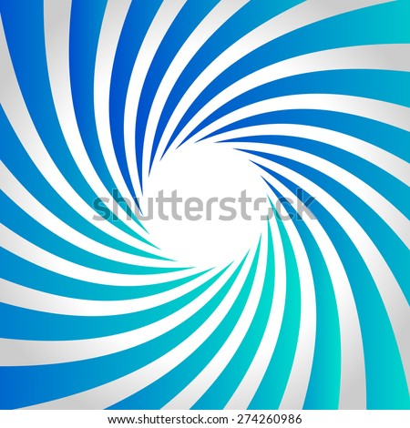Blue spiral background. Abstract vortex, whirlpool background with twisted shapes, - stock vector