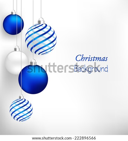 Blue spiral christmas balls hang on white background - stock vector