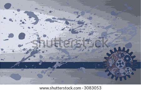 blue splattered mechanical steel background - stock vector