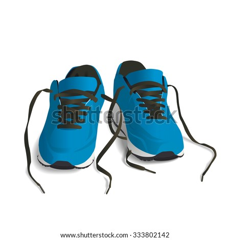 Blue Sport shoes. Running shoe, sneaker isolated on white background - stock vector