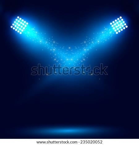 Blue spotlight. Vector illustration  - stock vector