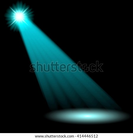 Blue spotlights. Attention ray scene. Vector illustration
