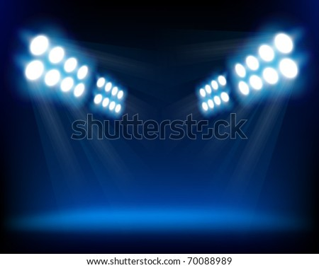 Blue spotlights. Vector illustration. - stock vector