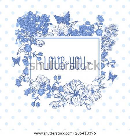 Blue Spring and Summer Floral Bouquet for Invitation Cards with Butterflies, Botanical Vector illustration on Polka Dot Background - stock vector