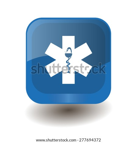 Blue square button with white ambulance sign, vector design for website  - stock vector