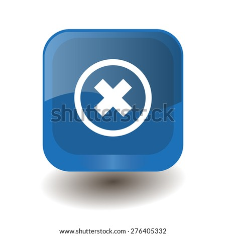 Blue square button with white delete sign, vector design for website  - stock vector