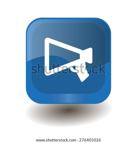 Blue square button with white mouthpiece (announcing) sign, vector design for website  - stock vector