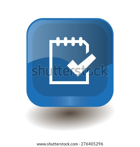 Blue square button with white note (to do) sign, vector design for website  - stock vector