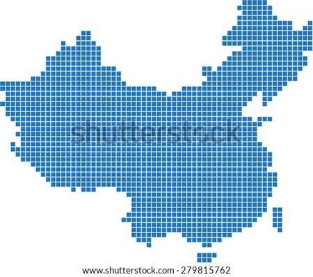 Blue square China map on white background, vector illustration. - stock vector