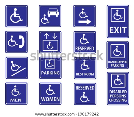 Blue square handicap signs with wheelchair vector set - stock vector