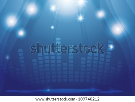 Blue stage with spotlight - stock vector