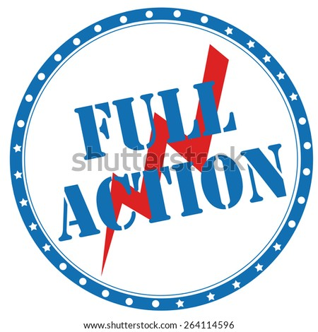 Blue stamp with text Full Action,vector illustration - stock vector