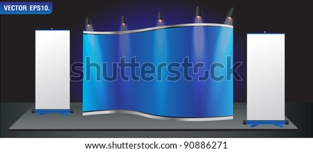 Blue stand for your ad and Roll up banner. Vector template background - stock vector