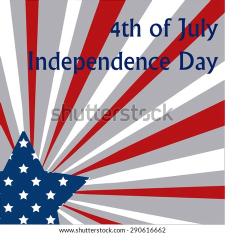 Blue star and stripes for independence day. Vector illustration
