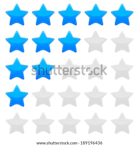 Blue star rating template - stock vector