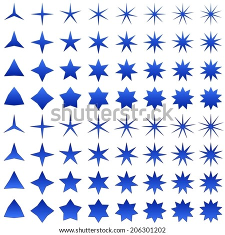 Blue star shape collection - vector version