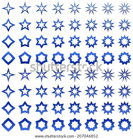Blue star shape collection - vector version - stock vector