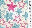 blue starfish seamless pattern - stock vector
