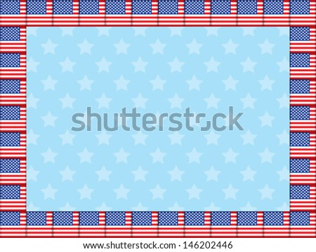 blue stars background with frame made of United States flag icons