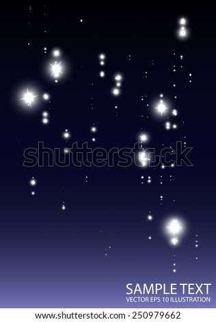 Blue stars fall abstract shiny background illustration - Abstract glitters and sparkles blue    background design illustration - stock vector