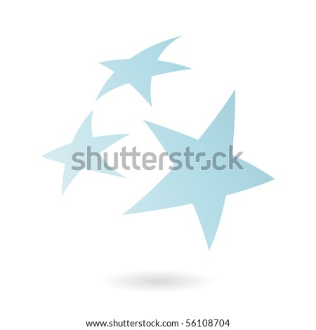 Blue stars isolated on white - stock vector