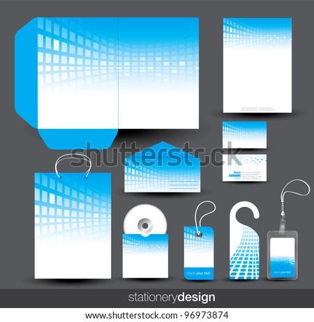 Blue stationery set design in editable vector format - stock vector