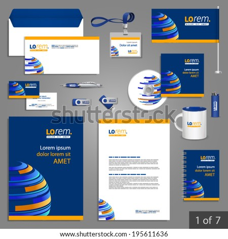 Blue stationery template design with digital planet. Documentation for business. - stock vector