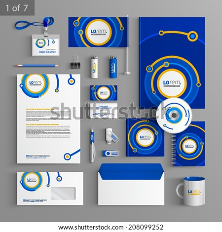 Blue stationery template design with digital round elements. Documentation for business. - stock vector