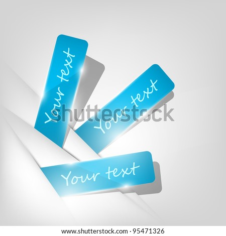 Blue stickers sticking out of the divider on paper background. Part of set. Vector art. - stock vector