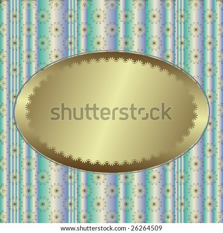 Blue striped floral  background with silvery banner (vector) - stock vector