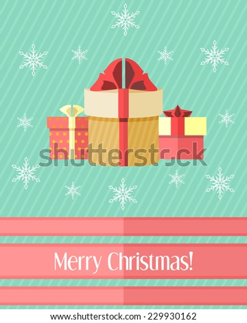 Blue striped holiday Christmas card with three wrapped gifts - stock vector
