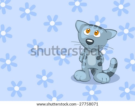 blue stripped british cat on background (editable layers) - stock vector