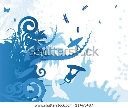 Blue Summer - stock vector