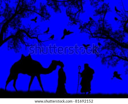 Blue sunset in the sahara desert with bedouins, vector illustration - stock vector