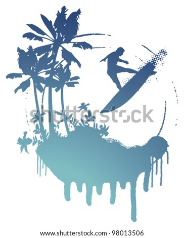 blue surf grunge scene with palms and surfer jumping - stock vector
