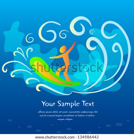 Blue surfing background, vector illustration. - stock vector