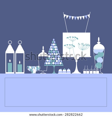 Blue sweet table with lanterns. Vector illustration - stock vector