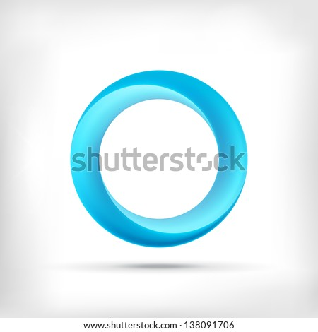 Blue swirl icon. Abstract glossy blue circle logo icon. Infinite sign. - stock vector