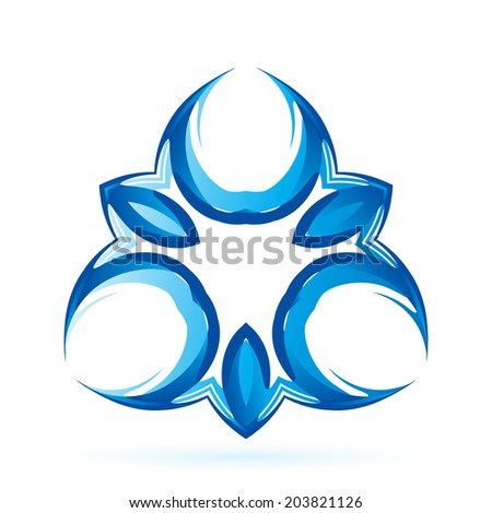 Blue symmetrical sign on the white background. - stock vector