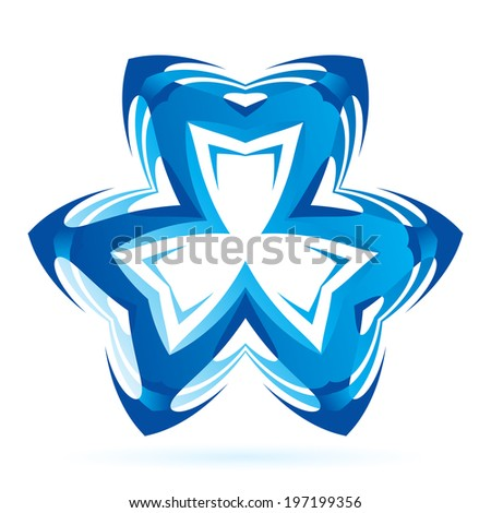 Blue symmetrical symbol on the white background. - stock vector