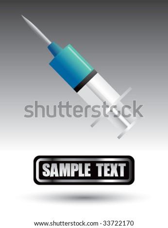 blue syringe on nameplate - stock vector