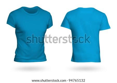 Blue T-shirt template. Photo-realistic mesh design. - stock vector
