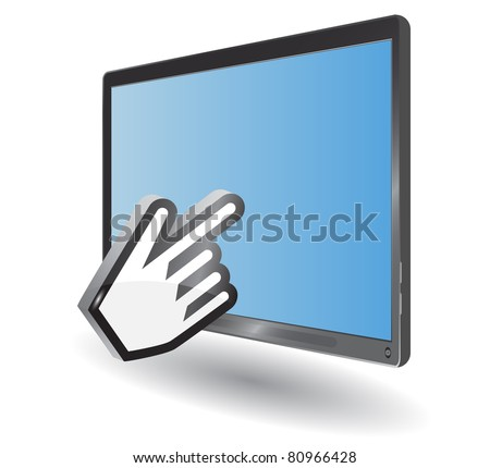 blue tablet pc and hand cursor - stock vector
