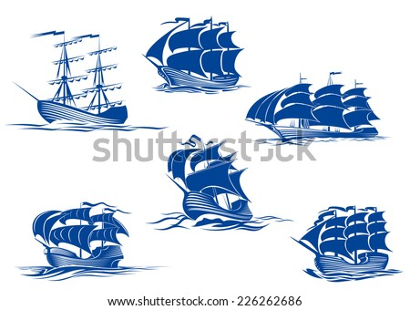 Blue tall ships or sailing ships, one with its sails stowed and the others with their full sails set cruising the ocean, vector illustration isolated on white - stock vector