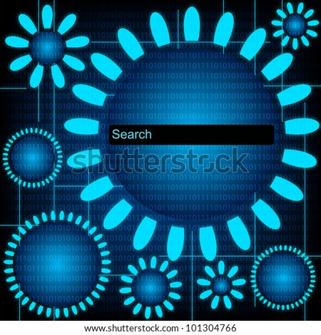 Blue Tech Background With Search Bar. Jpeg Version Also Available In Gallery. - stock vector
