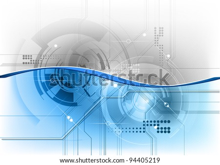 blue tech background with wave - stock vector