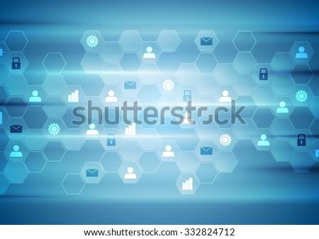 Blue tech communication abstract background. Vector design - stock vector