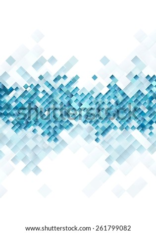 Blue tech squares on white background. Vector design - stock vector